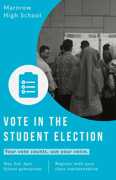 Blue and Gray Photo Vote in the Student Election Flyer Election