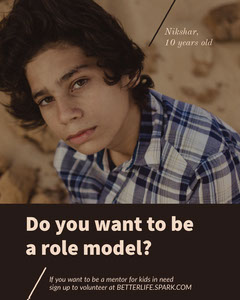 Brown and Blue Child Mentor Volunteer Recruitment Ad with Portrait of Boy Volunteer