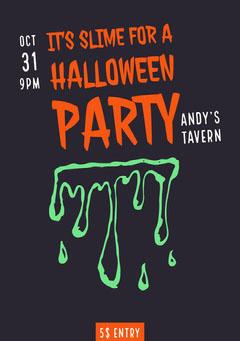 Halloween Slime Party Invitation Halloween Party Invitation