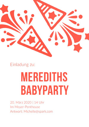 red and orang baby shower invitations  Einladung zur Babyparty