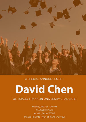 Orange Graduation Announcement Card with Students Throwing Mortarboards Photo Graduation Announcement
