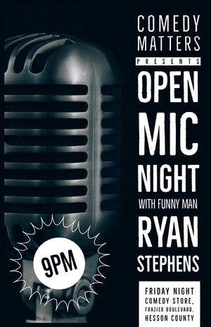 Black and White, Open Mic Club Event Ad, Poster  Comedy Show and Movie Poster