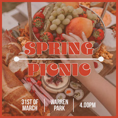 Red Frame Spring Picnic Instagram Square with Fruit Photo Picnic Flyer