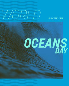 Blue World Oceans Day Instagram Portrait Graphic with Wave Wave