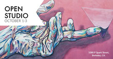 Pink and White, Abstract Art Open Studio Event Ad Facebook Cover Portada de Facebook