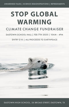 White and Grey Global Warming Polar Bear Poster Climate Change Posters