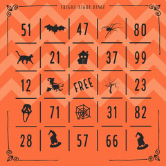 Fright Night Halloween Party Bingo Card Game Night Flyer