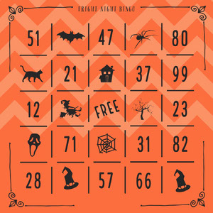 Fright Night Halloween Party Bingo Card Bingokort