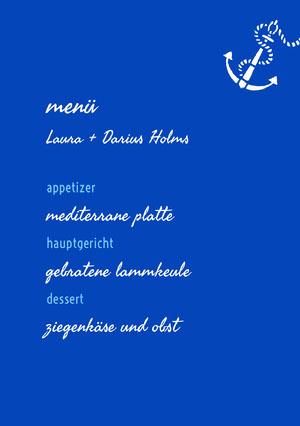 blue wedding menu  Menü