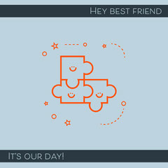 Blue Illustrated National Best Friend Day Instagram Square Graphic Friends