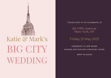 Violet and Pink Big City Wedding Invitation Wedding Invitation
