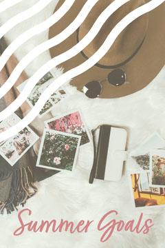 White & Pink Flat Lay Polaroids Summer Pinterest Post Summer