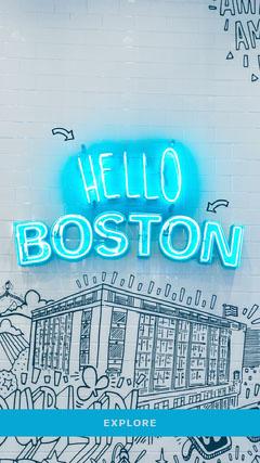 Blue Neon and Graffiti Hello Boston Massachusetts Travel and Tourism Instagram Story Hello