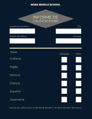 dark blue report cards Informe