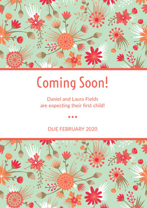 Red Floral Pregnancy Announcement Card Annonce de grossesse