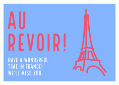 Pink, Blue and White Farewell Card France