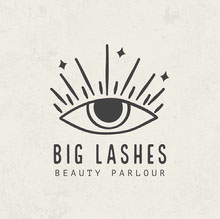 Off White and Black Big Lashes Beauty Parlour Logo 멋진 로고