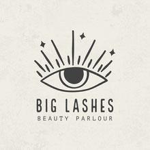 Off White and Black Big Lashes Beauty Parlour Logo Logo