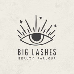 Off White and Black Big Lashes Beauty Parlour Logo Beauty