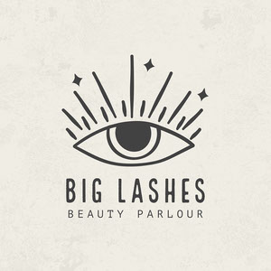 Off White and Black Big Lashes Beauty Parlour Logo Logo Instagram