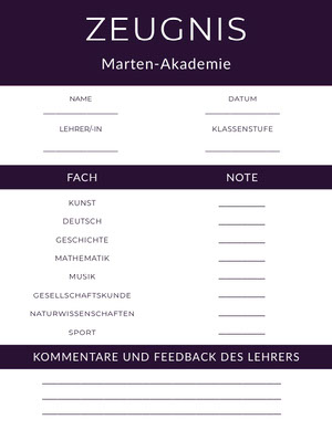 purple academy report cards  Zeugnis