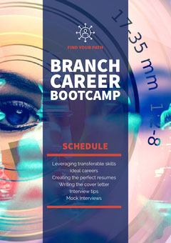 Navy Blue and Pink Branch Program Career Poster