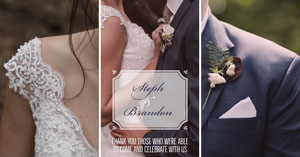 Wedding Facebook Post Graphic with Collage of Bride and Groom Créer vos publications Facebook