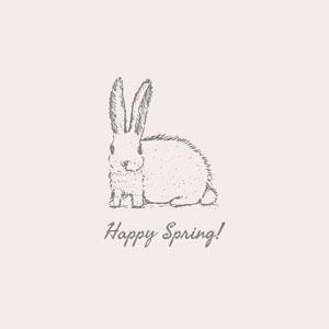 Pink Happy Spring Rabbit Instagram Square Easter Day Card Maker