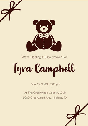 Tyra Campbell Baby Shower Thank You Card