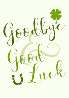 Green and White Farewell Card Farewell