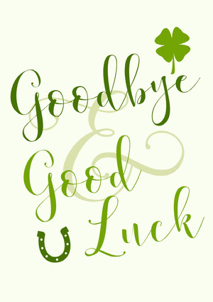Green and White Farewell Card Good Luck Card