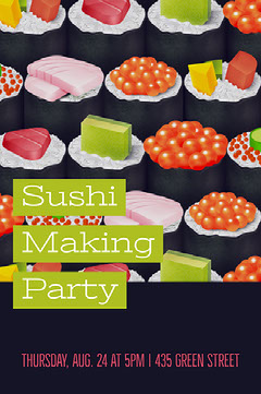 Green, Red and Black Old Fashioned Sushi Making Party Poster Sushi