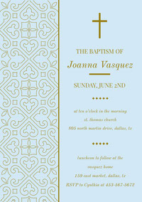 Ornate Gold and Light Blue Daughter Baptism Invitation Card with Pattern Einladung zur Taufe