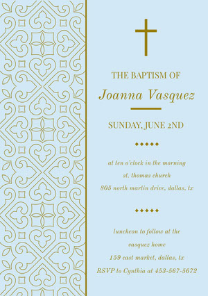Ornate Gold and Light Blue Daughter Baptism Invitation Card with Pattern Baptism Invitation
