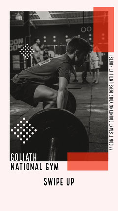Black and White Goliath National Gym Instagram Story  Gym