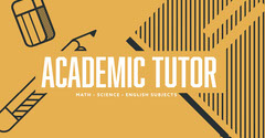 Yellow, White and Black Academic Tutor Ad Facebook Banner Tutor Flyer