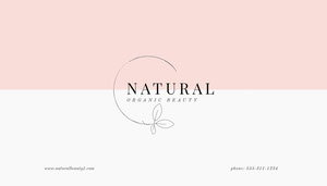Pink and White Natural Organic Beauty Business Card Tarjeta de visita
