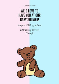 Pink and Blue Cute Teddy Baby Shower Invitation Card Baby Shower Invitation