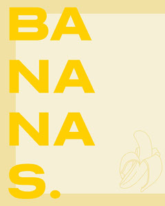 Yellow Banana Instagram Portrait Graphic Fruit