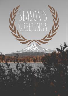 Season's Greetings Card with Lake and Mountains Lake