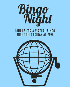 Blue and Black Illustrated Virtual Bingo Event Instagram Portrait  Stream
