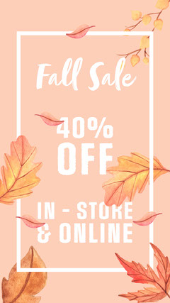 Pink White and Orange Fall Sale Promo Instagram Story Fall
