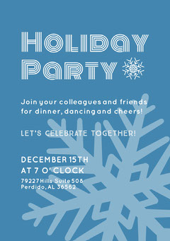 Blue Snow Holiday Party Event Poster Holiday Party Flyer