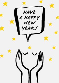Illustrated Happy New Year Card with Stars and Face New Year