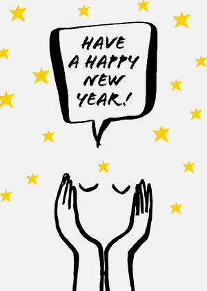 Illustrated Happy New Year Card with Stars and Face Happy New Year Messages
