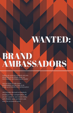 Orange Brand Ambassador Open Position Flyer Job Poster