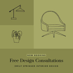 Green Color-Block Illustrated Interior Design Advertisement Furniture Sale