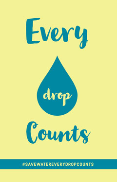 Yellow and Blue Water Conservation Environmental Poster with Drop Campaign