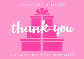 Pink and White Thank You Card Thank You Card
