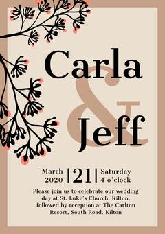 Brown Border Floral Wedding Invitation Card Border